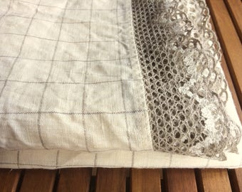 Rectangle ivory tablecloth with crochet linen lace edge trim, checked natural linen table cloth, wedding gift
