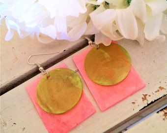 Pink lime green shell earrings - rectangular/disc layered earrings - pink shell jewelry - pinl/lime green earrings - shell dangling earrings