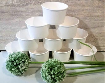 15 White paper 8oz/200ml ice-cream cup bowls/cups - create your own theme - decorate your own bowls - kids party/white wedding