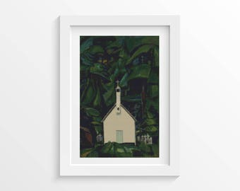 Cross Stitch Pattern PDF Indian Church by Emily Carr Cross Stitch Chart, Architecture Instant Download (CARR02)
