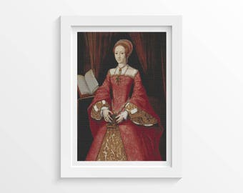 Portrait of Elizabeth I as a Princess by William Scrots Cross Stitch Chart, Royal, Queen, Instant Download (SCROT01)