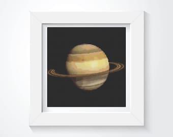 Cross Stitch Kit, Saturn Cross Stitch, Planet Cross Stitch, Embroidery Kit, Art Cross Stitch, Planetary Series (TAS102)