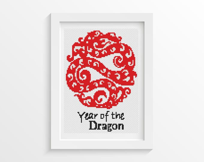 Mini Cross Stitch Kit, Embroidery Kit, Art Cross Stitch, Year of the Dragon (TAS117)