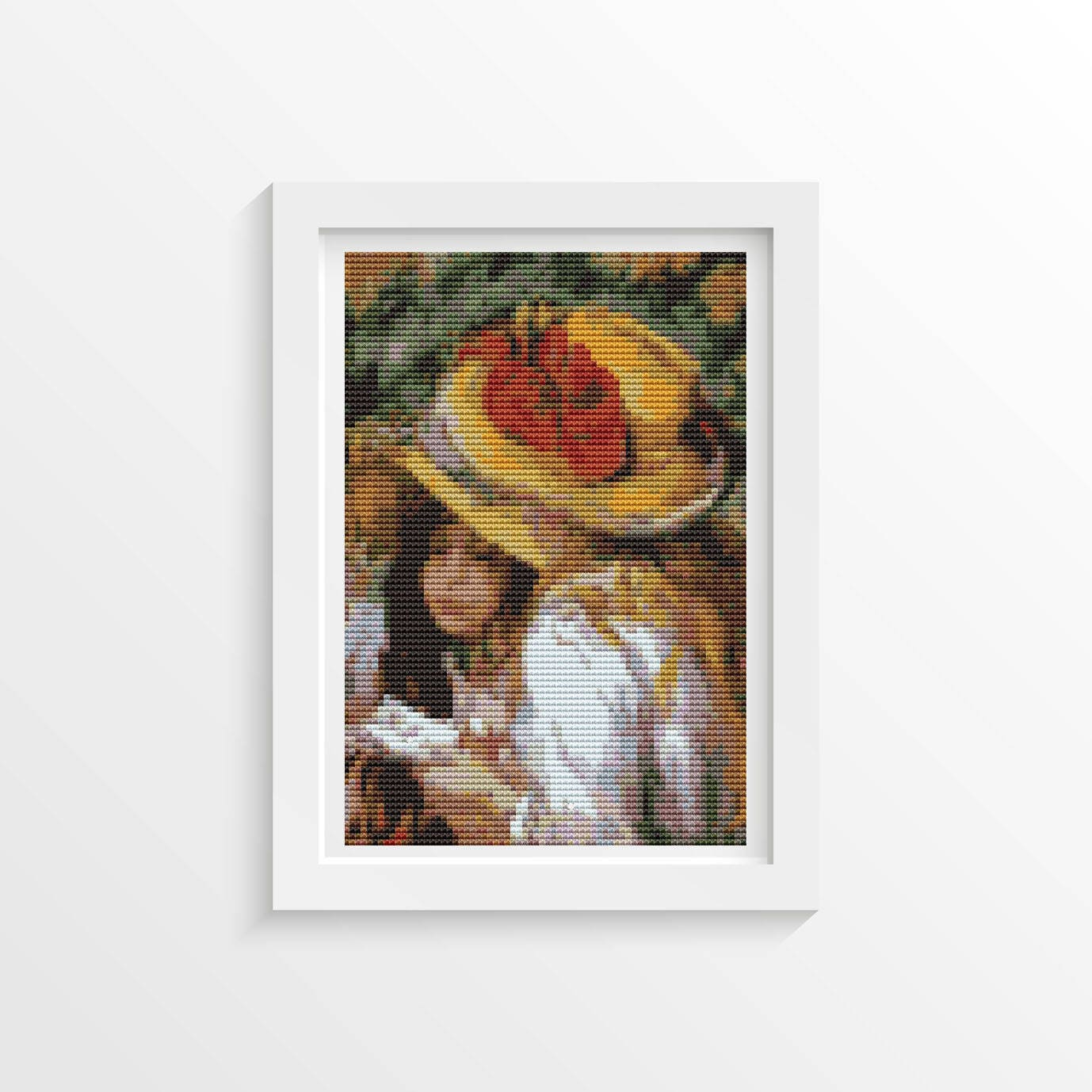 Jan Hagara Cross Stitch Patterns: Girl Cross Stitch Chart, Two Young Girls Reading MINI