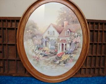 Cottage in Spring Oval Oak Framed