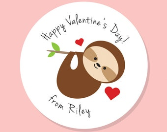 Sloth Valentine, Personalized Valentines, Valentine Gift Tag Sticker,  Personalized Sticker, Sloth Sticker