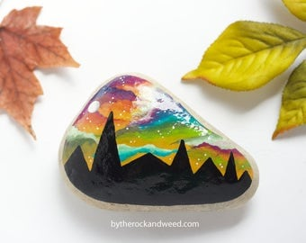"Mountain Painted Rock, 3.5"" by 2.25"" Hand-Painted Stone, Painted Mountains, Painted Rock Paperweight, Mountain Painting, Nature Painting"