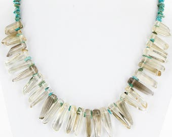 300 retail tag authentic charlene little navajo .925 sterling silver natural turquoise and smoky quartz native american necklace 25250