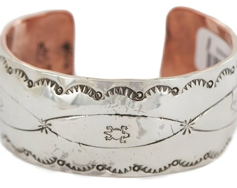 Rare 400 Tag Handmade Authentic Wide .925 Sterling Silver Horny Toad Navajo Charlene Little Native American Pure Copper Bracelet 24493-1