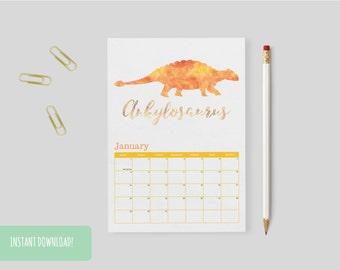 Dinosaur calendar | Etsy
