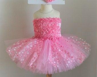 Baby girls pink flower chenille tutu dress set with headbnd