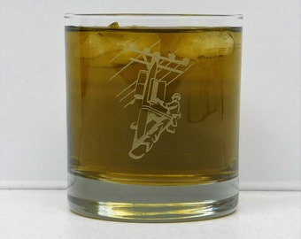 Lineman, Lineman gift, Lineman On The Rocks Glass, Electrician gift, Whiskey Glass