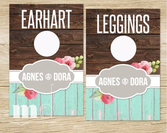 Agnes and Dora Clothing Rack Hanging Dividers, Rustic Wood Style Name Divider for Clothes Racks, Hanger Tags, Separators INSTANT DOWNLOAD