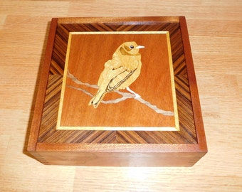 Song Bird Marquetry Box