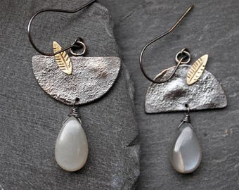 Sterling silver half moon earrings, Oxidized silver earrings with Moonstone briolettes, Gold toned leaf earrings, Grey Moonstone earrings