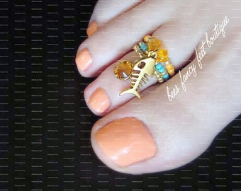 Stacking Toe Ring | Gold Fish Charm | Amber Austrian Crystal | Stretch Bead Toe Ring
