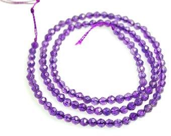 Amethyst-Faceted Amethyst Bead Strand-AA Grade Amethyst Beads-Natural Amethyst-Genuine Amethyst-Genuine Amethyst Beads-3mm Gemstone Bead
