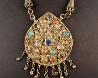 Kashmiri pendant with gemstones, old indian jewelry, tribal pendant, Kashmiri jewelry,  ethnic jewelry, tribal belly dance jewelry