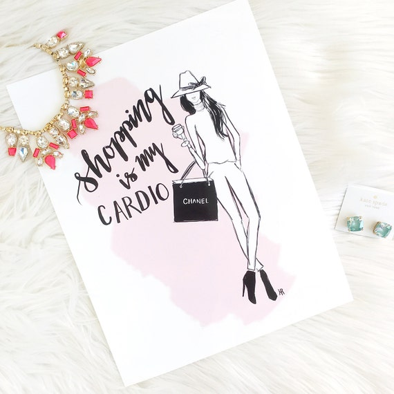 Shopaholic art, Fashion print, girly print, Fashion illustration, Fashion sketch, shopping lover, shopping addict, gifts for her