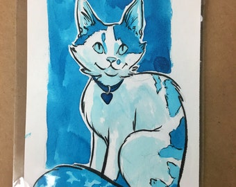 "Digital Print of cat illustration, 5x7"""