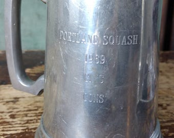 "Manor Pewter (#2132) Pewter Mug/Beer Stein/Ale Tankard, Glass Bottom, Engraved ""Portland Squash 1969 CL. C CONS,"" Made in England"