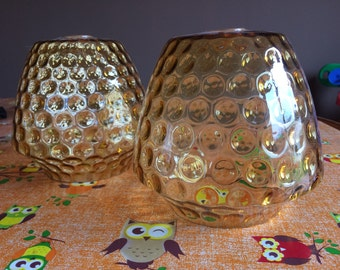 Vintage Amber Glass Light Shades with Bubble design