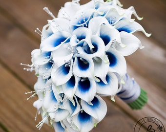 Calla lily bouquet, cascading bridal bouquet, blue wedding bouquet, real touch calla lilies, cascading wedding bouquets, ready to ship