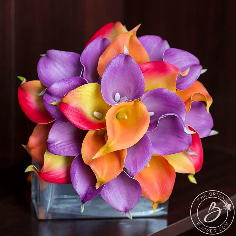 Purple Lily Bridal Bouquet : Fall wedding bouquet calla lily purple and orange