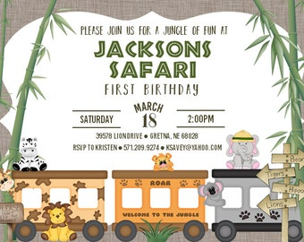 Safari Birthday Invitation Digital File ONLY