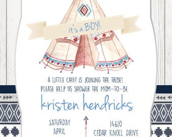 Tribal Baby Shower Invitation Digital File ONLY