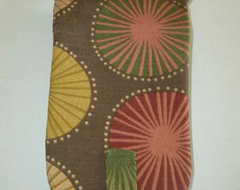 Brown Pinwheel Pattern Circular Knitting Needle Case
