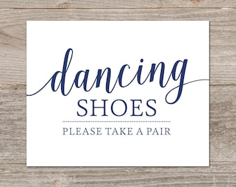 Printable Dancing Shoes Signs for Wedding // Flip Flop Wedding Sign // Navy Wedding Decor, Instant Download
