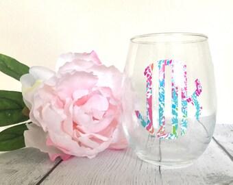Lilly Inspired Monogram Wine Glass