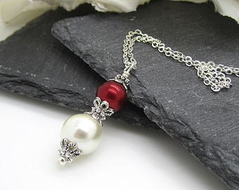 Red and Ivory Pearl Drop Necklace, Claret Bridesmaid Jewellery, Red Wedding Bridesmaid Gift Idea, Simple Pearl Drop, Red Brides Necklace