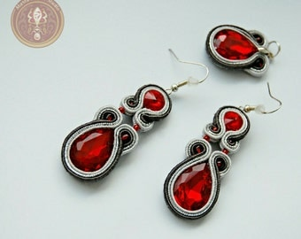 Silver and intensively red earrings with mini pendant