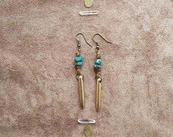 TURQUOISE ARROW Earrings • tribal jungle shamanic indigenous ethnic