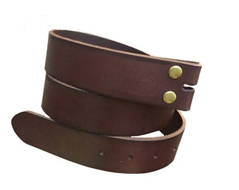 Genuine Dark Brown Leather Snap Belt Strap Men's sizes 32 - 38 Womens s m l xl - change your belt buckle - removable - snap on - handmade