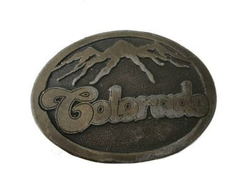 Vintage Colorado Snowy Mountains Belt Buckle - State - Denver Aspen Vail Breckenridge Telluride - 1970s