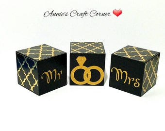 Black and Gold Lattice 2 Inch Wooden Wedding Blocks for Bridal Shower, Engagement, and Photo Prop-Table Decoration
