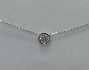 Diamond Solitaire Bezel Set Necklace 14k White Gold 0.30ct SI 1 Clarity H Color / White Gold 14k Diamond Solitaire Bezel Set Necklace 0.30ct