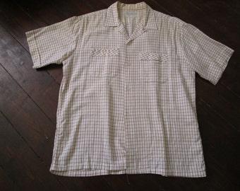 1950 short sleeve summer shirt size Large L 1950s Loop Collar shirt VLV  40s 50s
