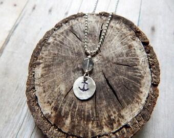 Anchor charm necklace, silver and labradorite