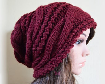 Winter Slouchy cable style beanie knit hat - BURGUNDY - womens - baggy - chunky - slouch - gift - thick and extra warm