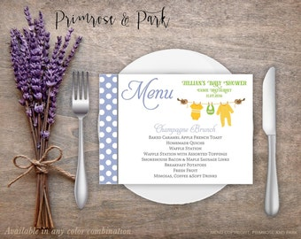 Baby Shower Menu Cards Printable // Girl, boy or Neutral // Clothesline Design
