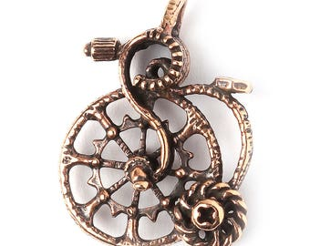 Bronze penny farthing old bike pendant 3403(1). Handmade findings, jewelry, wheel. Designed and made by Anna Bronze.