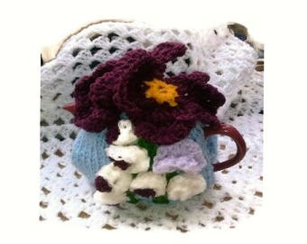 TEA COSY - Hand Knitted Cosy - PANSY Tea Cosy - Knitted Cozies - Knitted Tea Cosies -