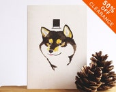 CLEARANCE 50% OFF // Doge Illustrated Art Card // Note Card // Shiba Inu Wearing A Top Hat // Dog Lover Greeting Card // Dog Notelet