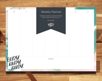 Stylish Weekly Planner: Busy, Busy, Busy // Notepad // Desk Pad // For The Stationery Addict // Gift For The Planner Addict // Organiser