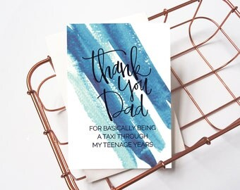 Father's Day Card: Thanks For Being A Taxi // Thank You Dad // Thanks Dad // Modern Card For Dad // Funny Father's Day Card // Humour