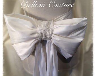 Large White Taffeta & Sequin Bridal Bow Bridal Belt / Sash  Ltd Addition